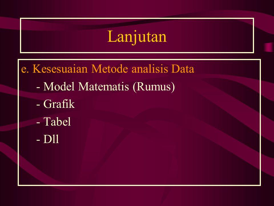 Lanjutan e. Kesesuaian Metode analisis Data - Model Matematis (Rumus) - Grafik - Tabel - Dll