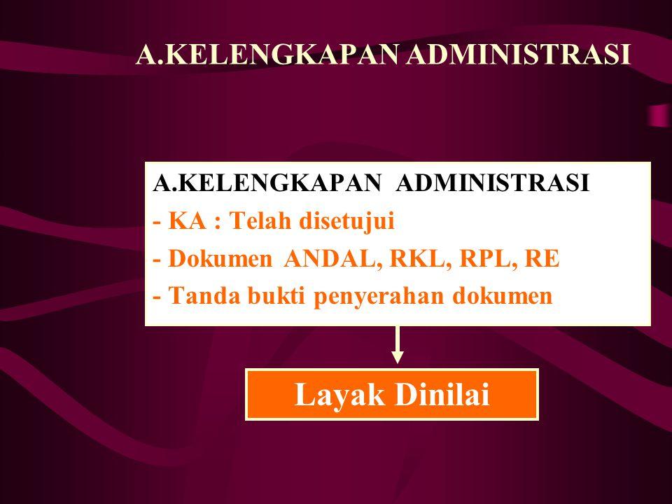 A.KELENGKAPAN ADMINISTRASI - KA : Telah disetujui - Dokumen ANDAL, RKL, RPL, RE - Tanda bukti penyerahan dokumen Layak Dinilai