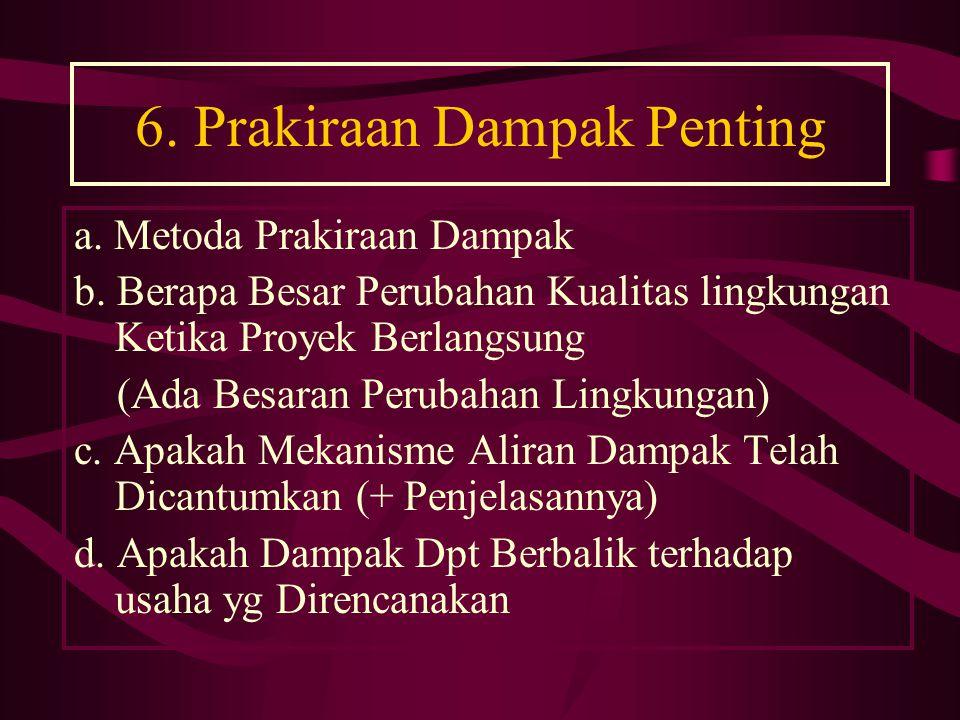 6.Prakiraan Dampak Penting a. Metoda Prakiraan Dampak b.