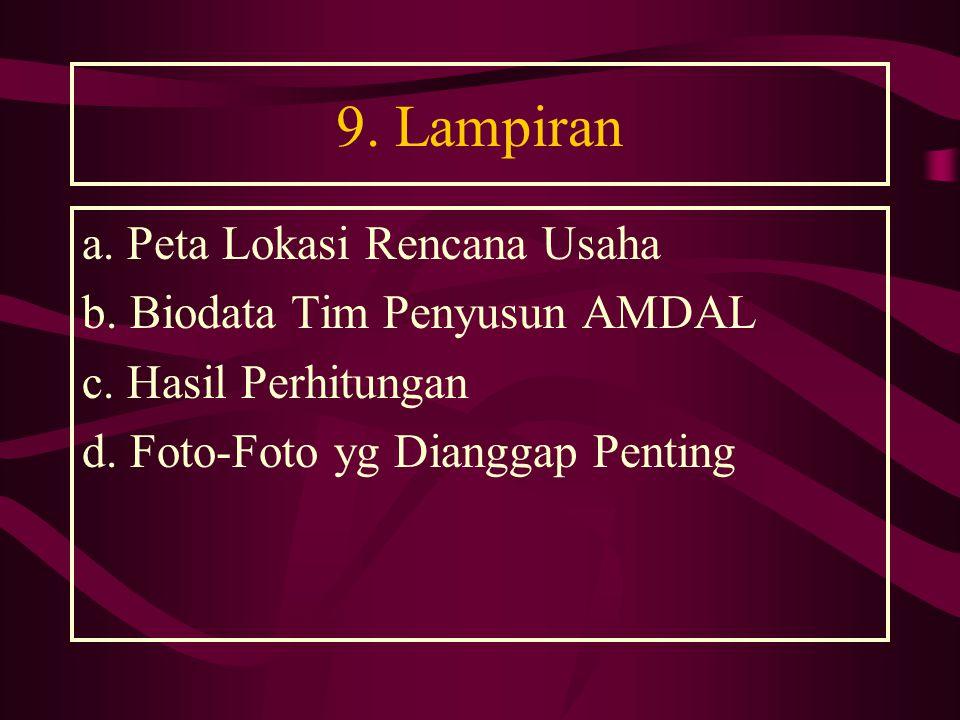9.Lampiran a. Peta Lokasi Rencana Usaha b. Biodata Tim Penyusun AMDAL c.