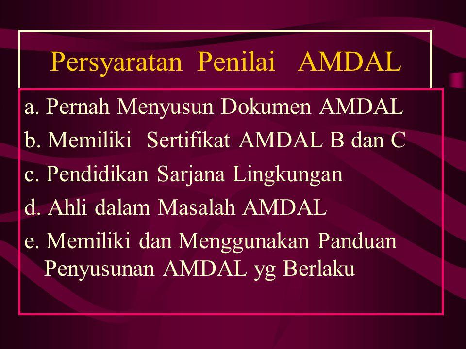 Persyaratan Penilai AMDAL a. Pernah Menyusun Dokumen AMDAL b. Memiliki Sertifikat AMDAL B dan C c. Pendidikan Sarjana Lingkungan d. Ahli dalam Masalah