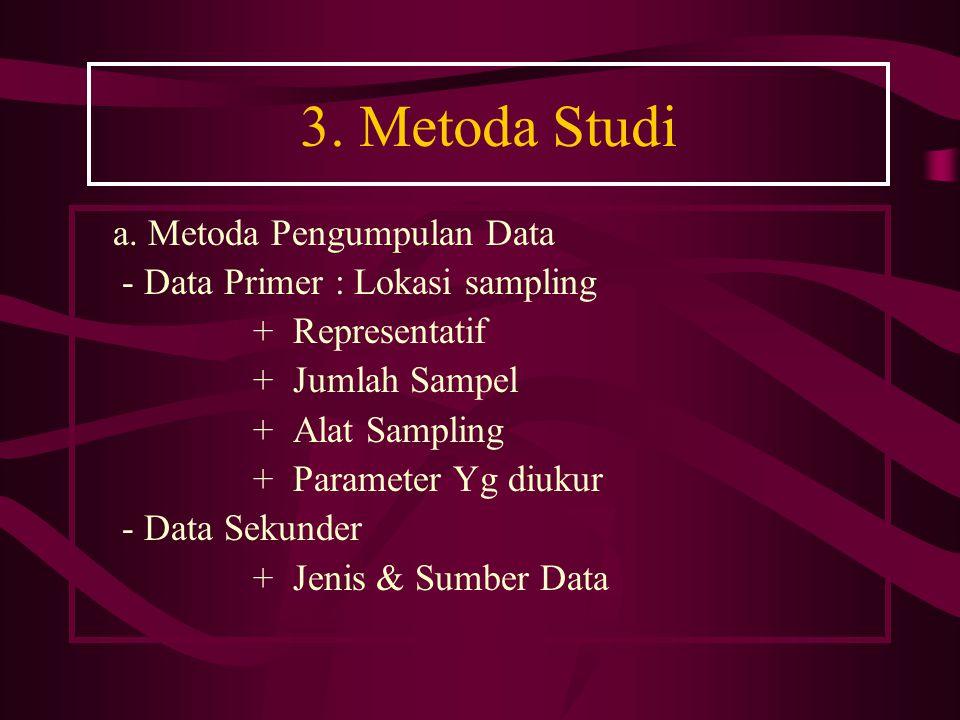 3. Metoda Studi a. Metoda Pengumpulan Data - Data Primer : Lokasi sampling + Representatif + Jumlah Sampel + Alat Sampling + Parameter Yg diukur - Dat