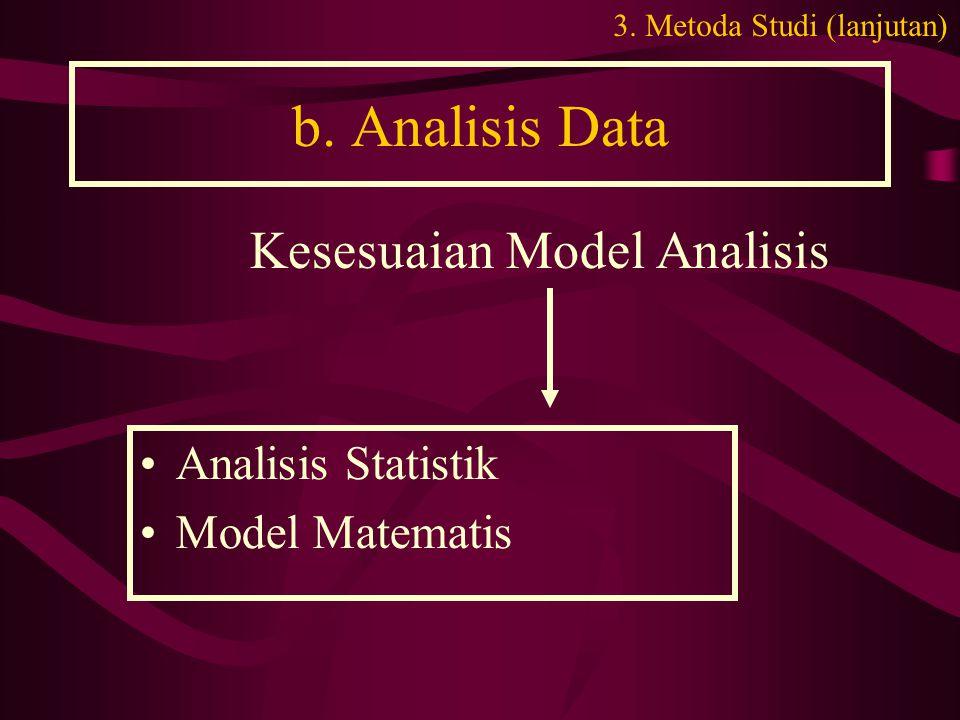 b. Analisis Data •Analisis Statistik •Model Matematis Kesesuaian Model Analisis 3. Metoda Studi (lanjutan)