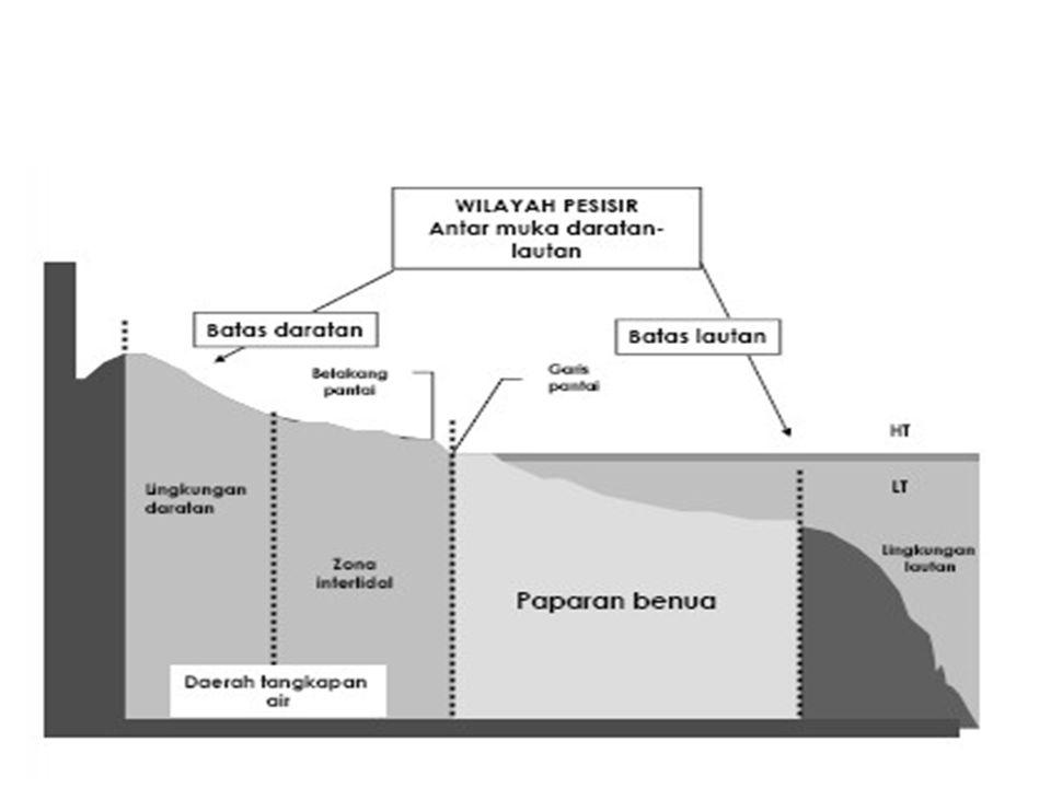 WILAYAH PESISIR Wilayah pertemuan antara daratan dan lautan, dimana wilayah daratannya masih dipengaruhi oleh dinamika lautan seperti instrusi air laut dan wilayah perairan lautnya masih dipengaruhi oleh dinamika daratan seperti sedimentasi dll.