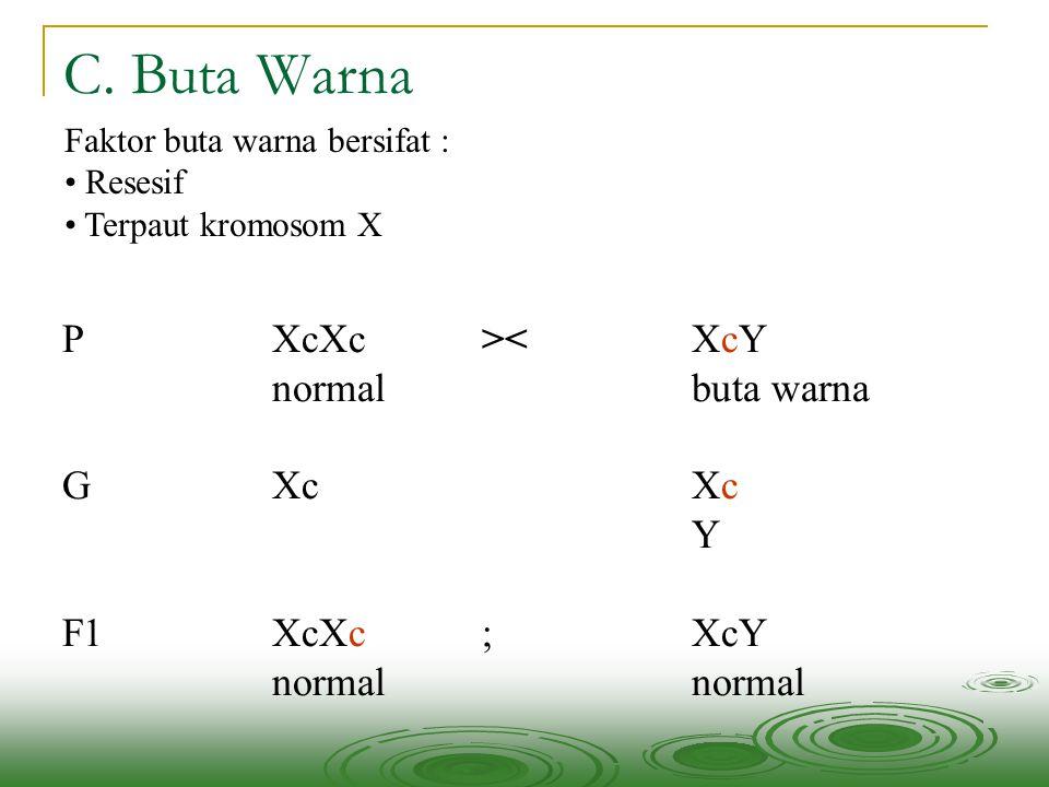 C. Buta Warna Faktor buta warna bersifat : • Resesif • Terpaut kromosom X PXcXc><XcY normalbuta warna GXcXc Y F1XcXc; XcYnormal