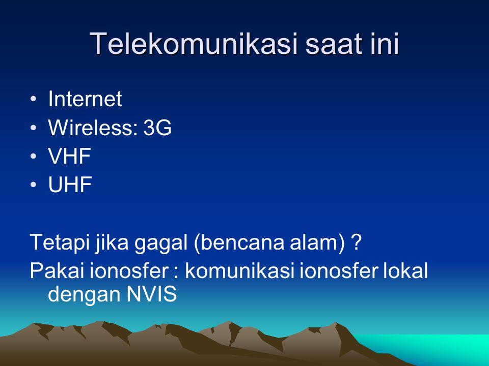 Telekomunikasi saat ini •Internet •Wireless: 3G •VHF •UHF Tetapi jika gagal (bencana alam) ? Pakai ionosfer : komunikasi ionosfer lokal dengan NVIS