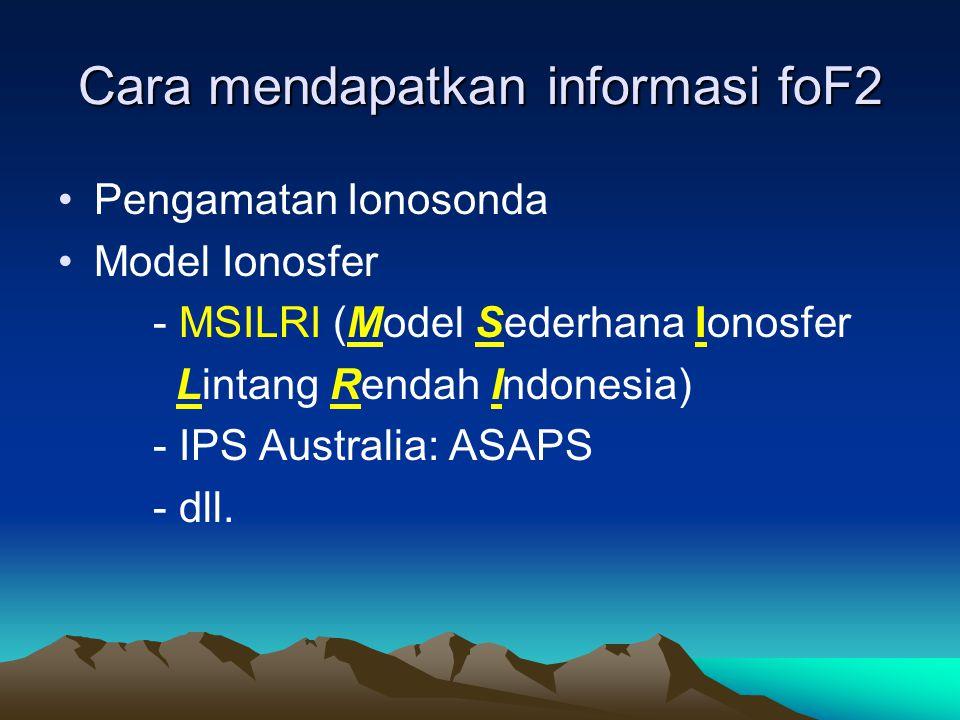 Cara mendapatkan informasi foF2 •Pengamatan Ionosonda •Model Ionosfer - MSILRI (Model Sederhana Ionosfer Lintang Rendah Indonesia) - IPS Australia: AS