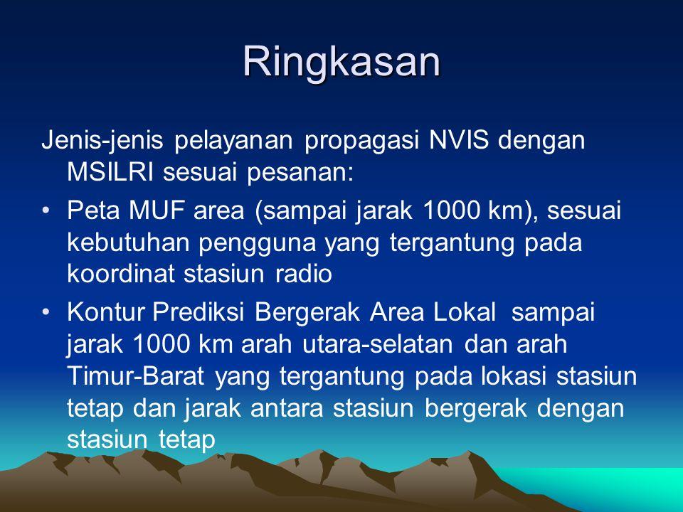 Ringkasan Jenis-jenis pelayanan propagasi NVIS dengan MSILRI sesuai pesanan: •Peta MUF area (sampai jarak 1000 km), sesuai kebutuhan pengguna yang ter