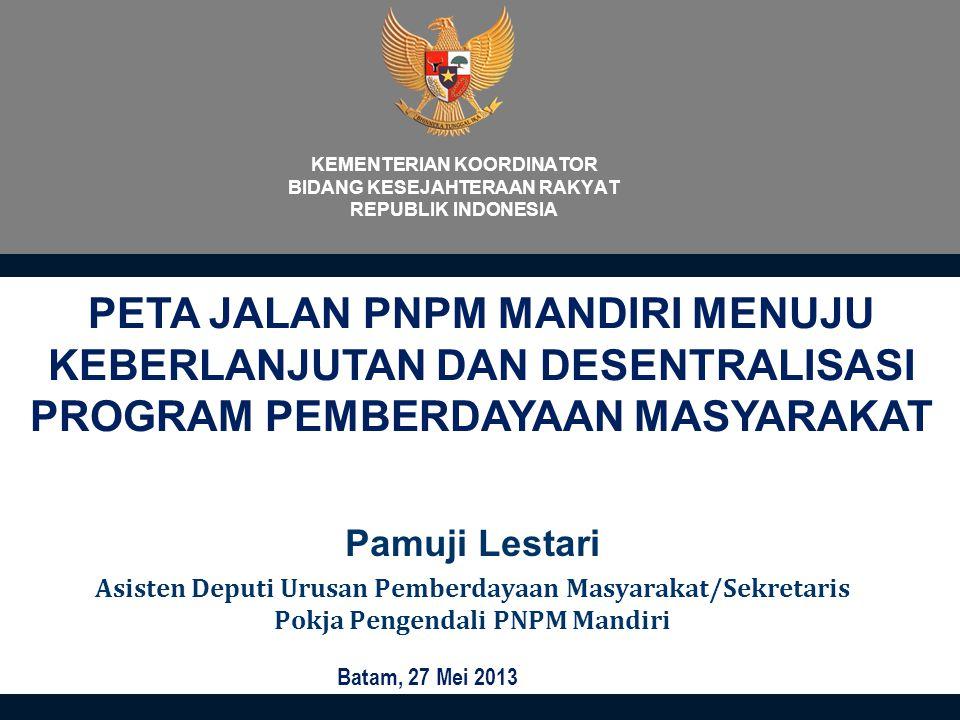 KEMENTERIAN KOORDINATOR BIDANG KESEJAHTERAAN RAKYAT REPUBLIK INDONESIA Pamuji Lestari Asisten Deputi Urusan Pemberdayaan Masyarakat/Sekretaris Pokja P
