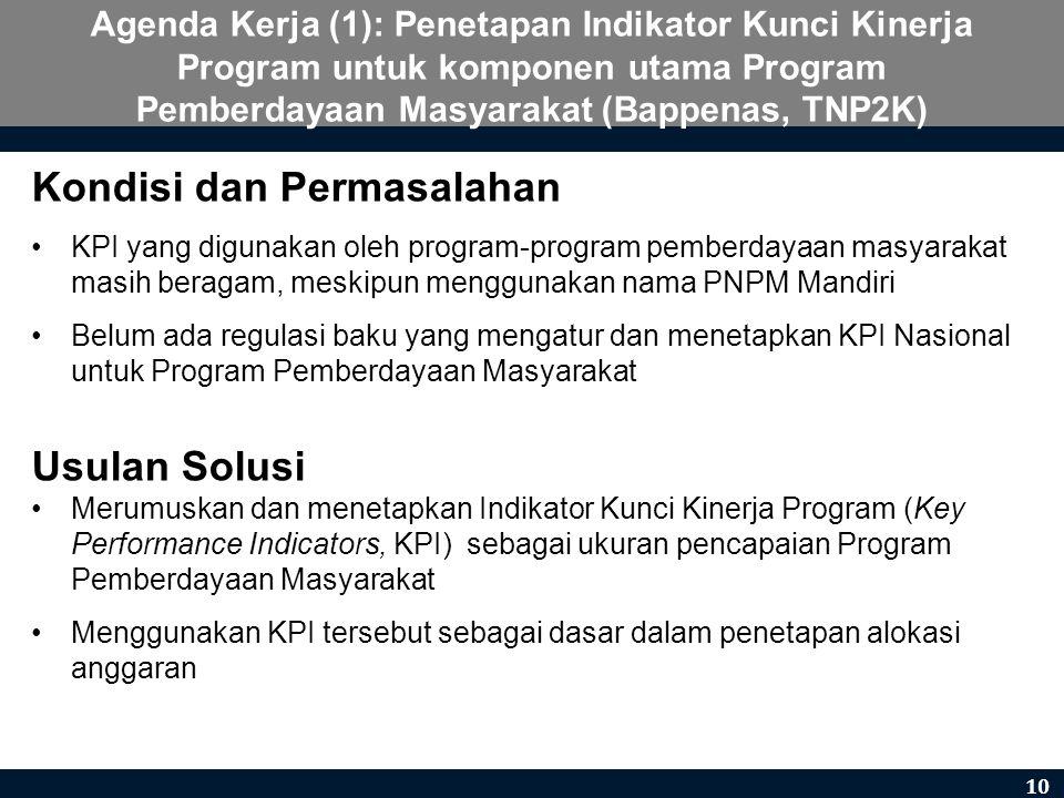 Agenda Kerja (1): Penetapan Indikator Kunci Kinerja Program untuk komponen utama Program Pemberdayaan Masyarakat (Bappenas, TNP2K) Kondisi dan Permasa