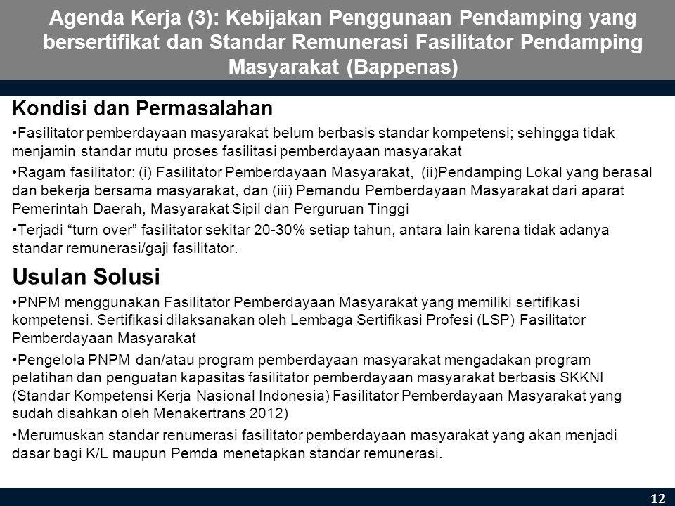 Agenda Kerja (3): Kebijakan Penggunaan Pendamping yang bersertifikat dan Standar Remunerasi Fasilitator Pendamping Masyarakat (Bappenas) Kondisi dan P