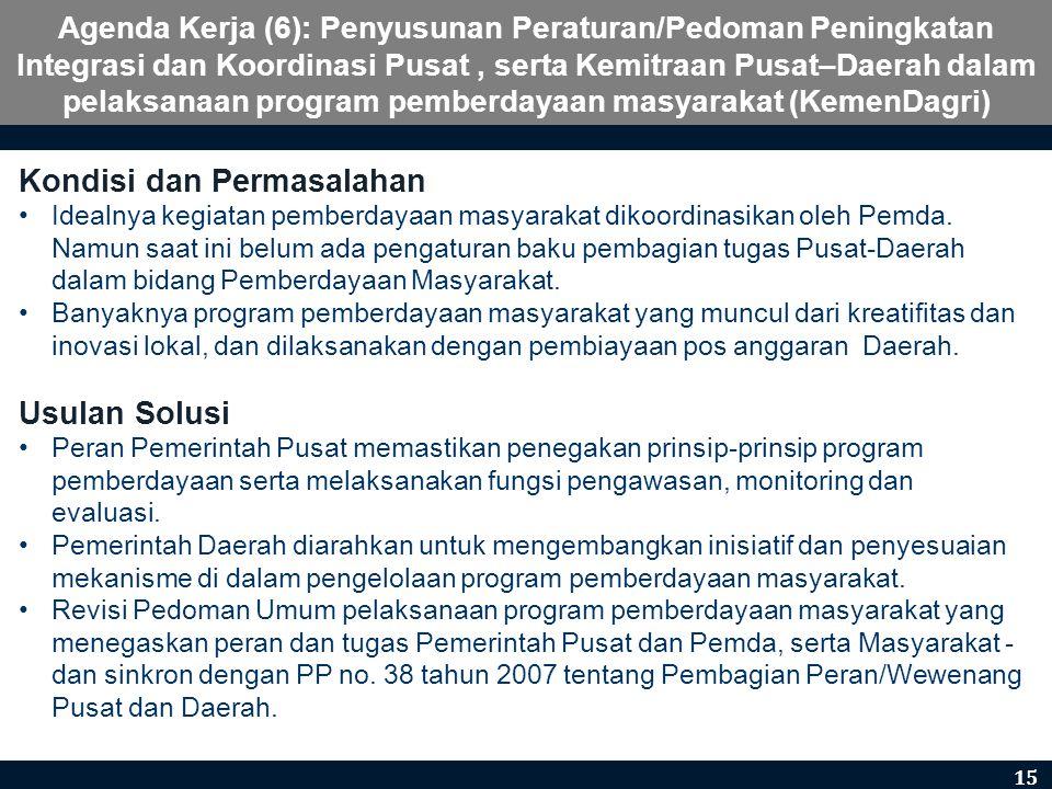 Agenda Kerja (6): Penyusunan Peraturan/Pedoman Peningkatan Integrasi dan Koordinasi Pusat, serta Kemitraan Pusat–Daerah dalam pelaksanaan program pemb