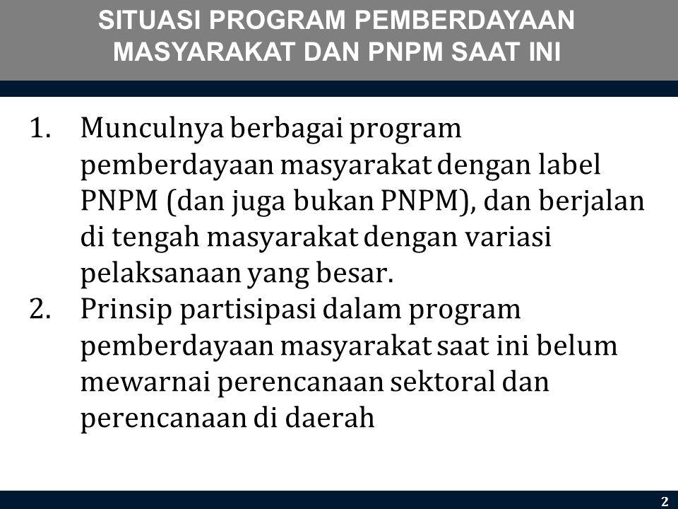 SITUASI PROGRAM PEMBERDAYAAN MASYARAKAT DAN PNPM SAAT INI 1.Munculnya berbagai program pemberdayaan masyarakat dengan label PNPM (dan juga bukan PNPM)