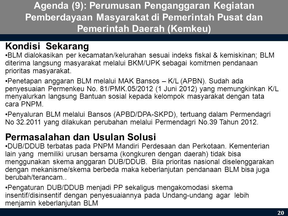 Agenda (9): Perumusan Penganggaran Kegiatan Pemberdayaan Masyarakat di Pemerintah Pusat dan Pemerintah Daerah (Kemkeu) Kondisi Sekarang •BLM dialokasi