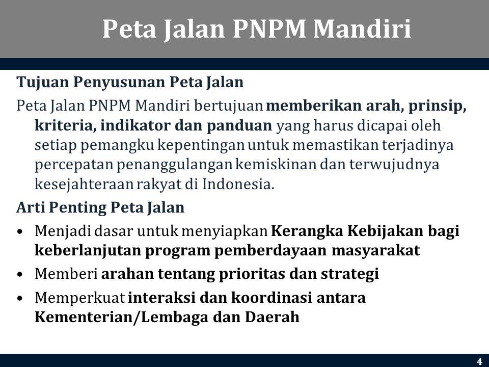 Peta Jalan PNPM Mandiri Tujuan Penyusunan Peta Jalan Peta Jalan PNPM Mandiri bertujuan memberikan arah, prinsip, kriteria, indikator dan panduan yang