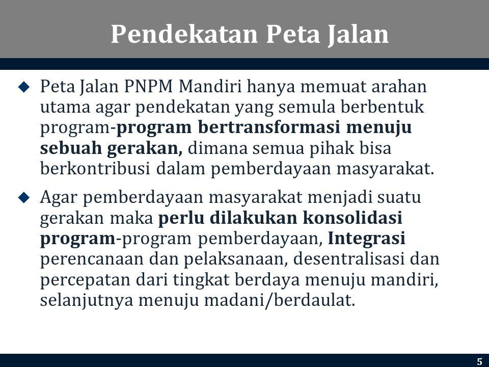 Pendekatan Peta Jalan  Peta Jalan PNPM Mandiri hanya memuat arahan utama agar pendekatan yang semula berbentuk program-program bertransformasi menuju