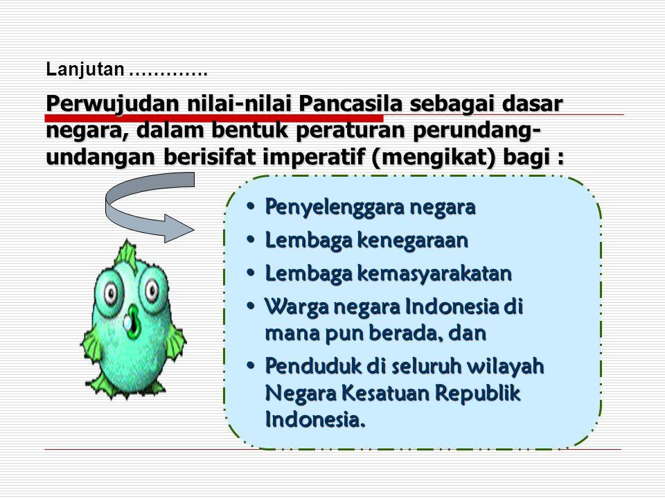 •Penyelenggara negara •Lembaga kenegaraan •Lembaga kemasyarakatan •Warga negara Indonesia di mana pun berada, dan •Penduduk di seluruh wilayah Negara