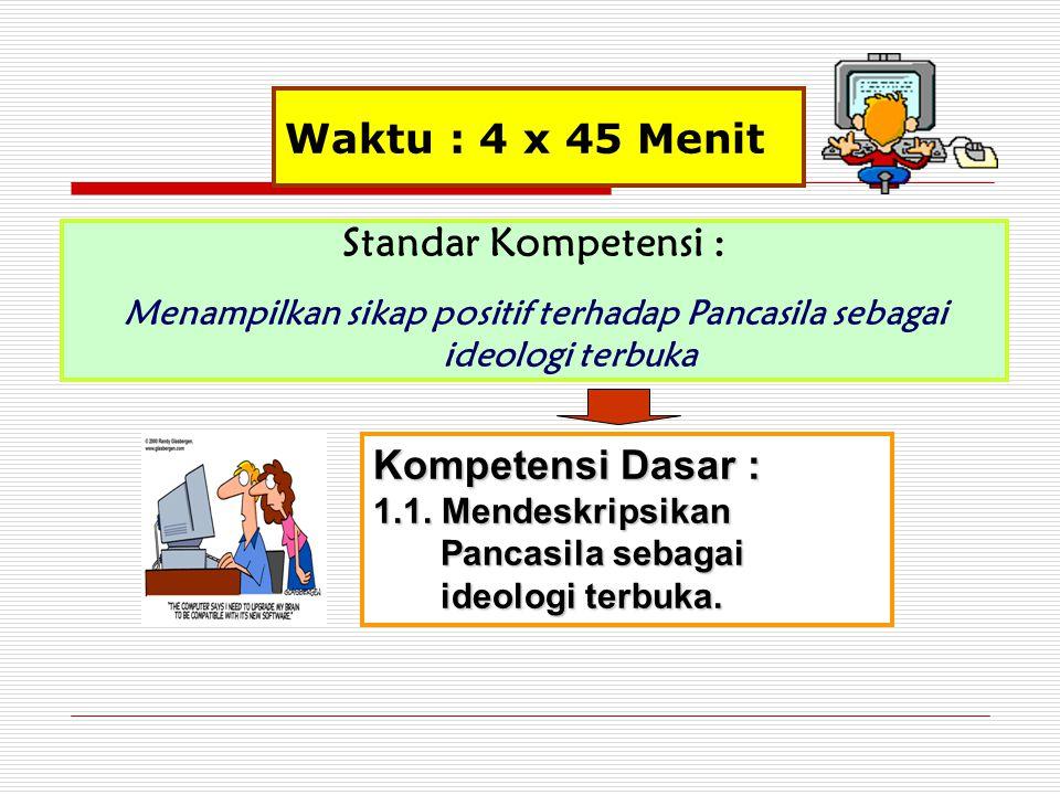 Waktu : 4 x 45 Menit Standar Kompetensi : Menampilkan sikap positif terhadap Pancasila sebagai ideologi terbuka Kompetensi Dasar : 1.1. Mendeskripsika