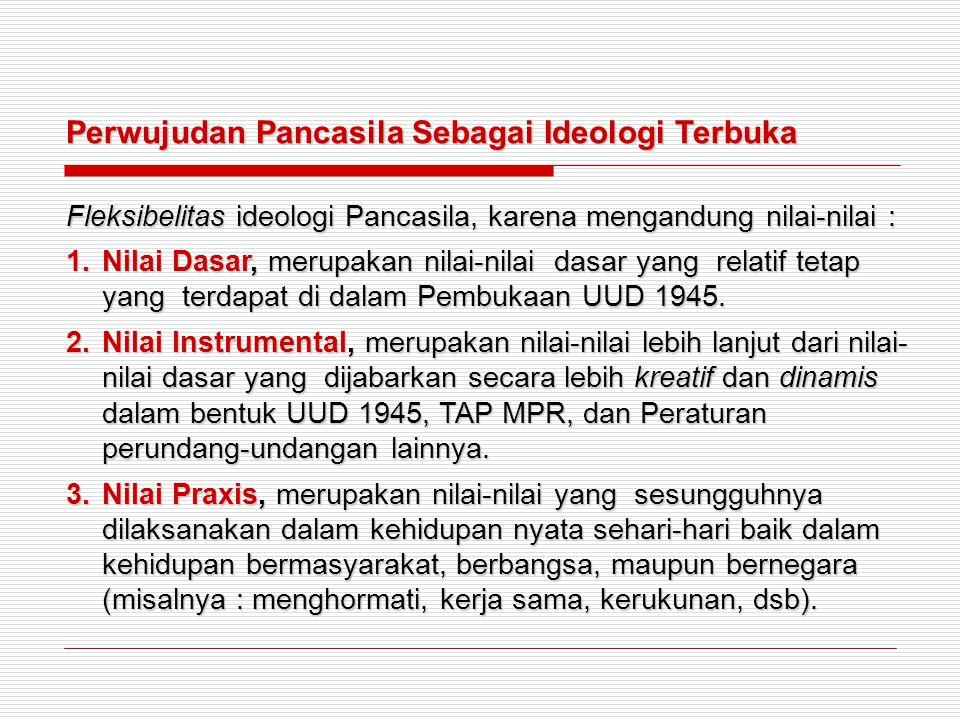 Perwujudan Pancasila Sebagai Ideologi Terbuka Fleksibelitas ideologi Pancasila, karena mengandung nilai-nilai : 1.Nilai Dasar, merupakan nilai-nilai d