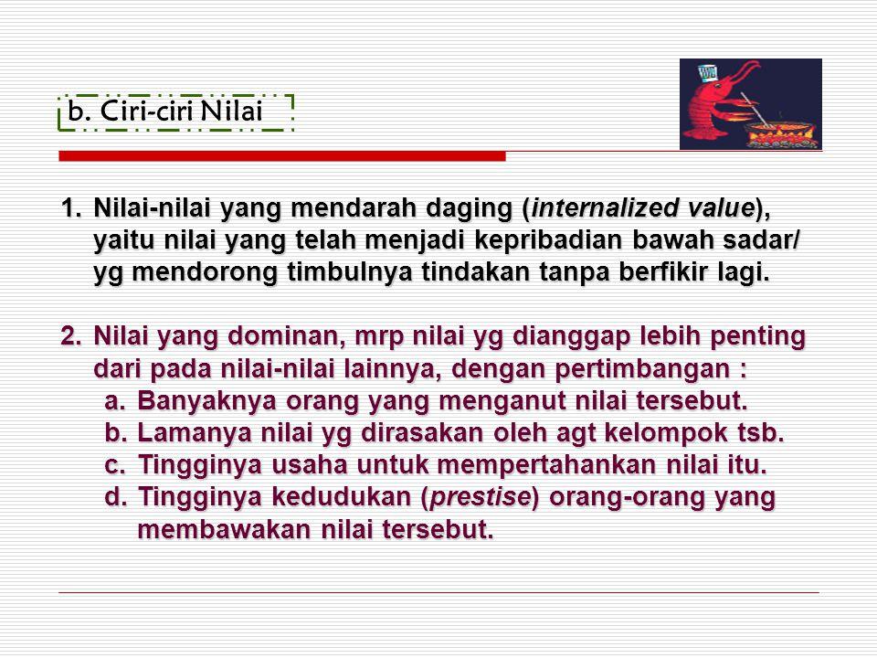 b.Ciri-ciri Nilai 1.Nilai-nilai yang mendarah daging (internalized value), yaitu nilai yang telah menjadi kepribadian bawah sadar/ yg mendorong timbul