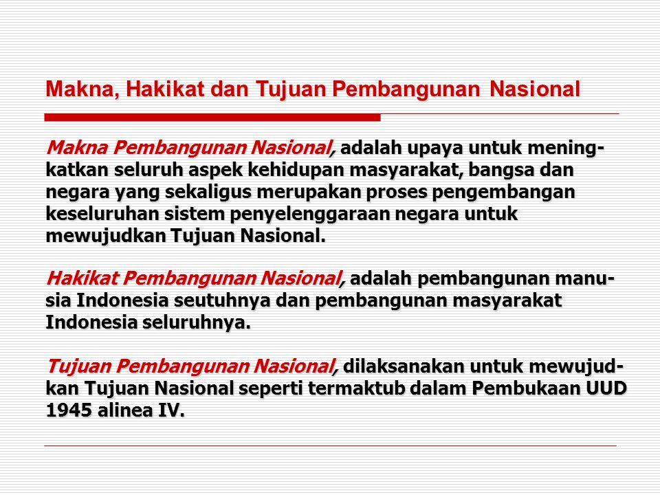 Makna, Hakikat dan Tujuan Pembangunan Nasional Makna Pembangunan Nasional, adalah upaya untuk mening- katkan seluruh aspek kehidupan masyarakat, bangs