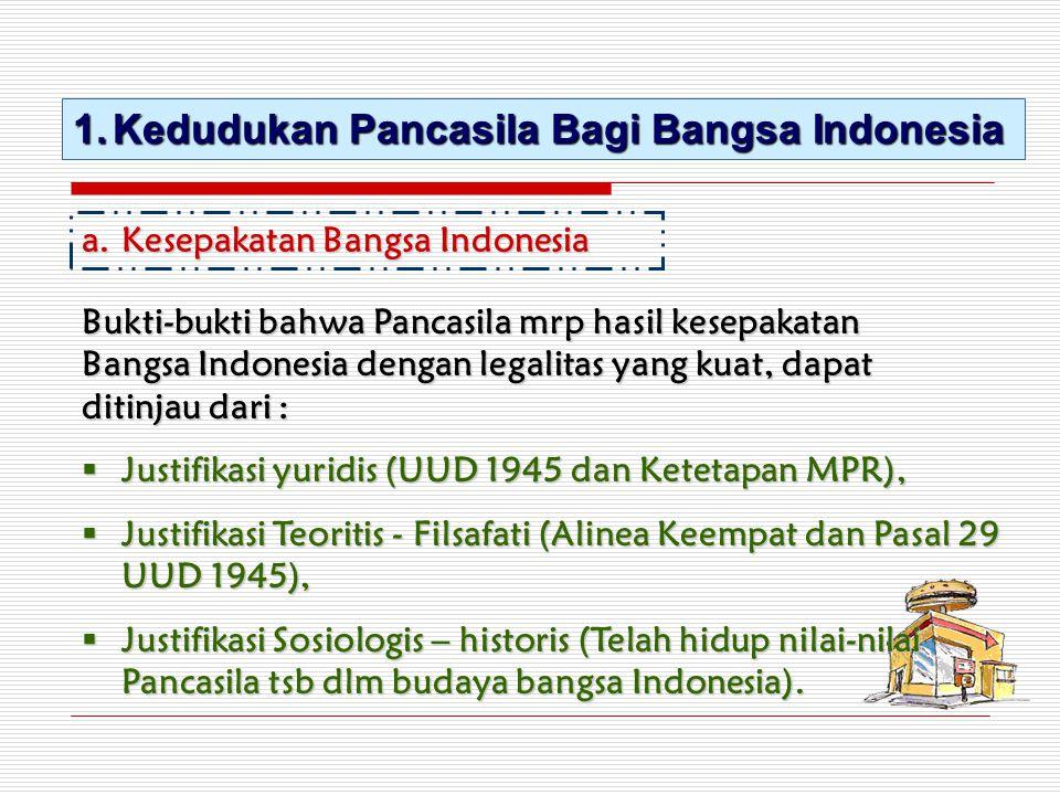 1.Kedudukan Pancasila Bagi Bangsa Indonesia a.Kesepakatan Bangsa Indonesia Bukti-bukti bahwa Pancasila mrp hasil kesepakatan Bangsa Indonesia dengan l