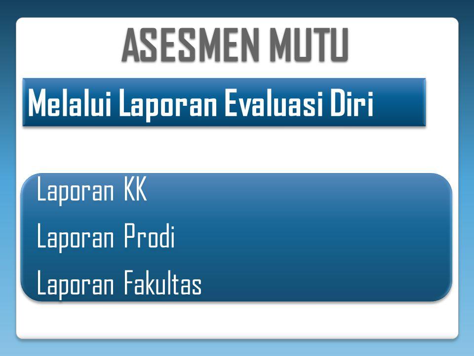ASESMEN MUTU Melalui Laporan Evaluasi Diri Laporan KK Laporan Prodi Laporan Fakultas