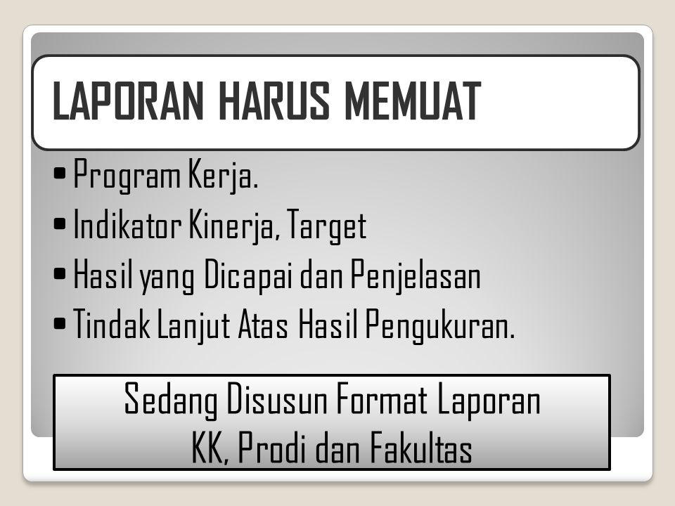 LAPORAN HARUS MEMUAT •Program Kerja. •Indikator Kinerja, Target •Hasil yang Dicapai dan Penjelasan •Tindak Lanjut Atas Hasil Pengukuran. Sedang Disusu
