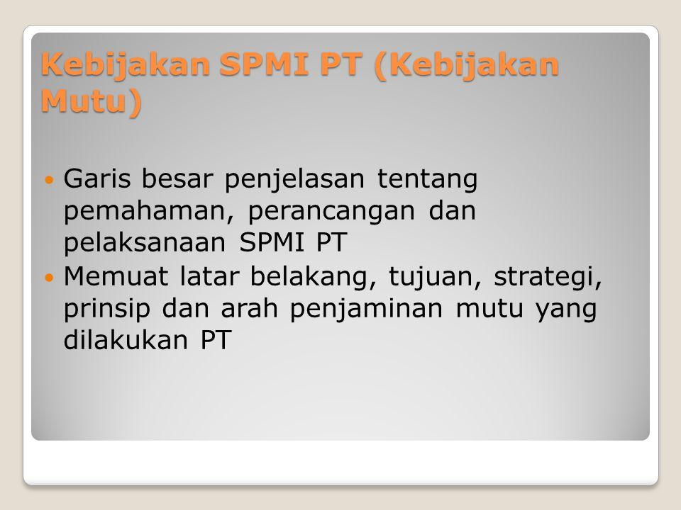Kebijakan SPMI PT (Kebijakan Mutu)  Garis besar penjelasan tentang pemahaman, perancangan dan pelaksanaan SPMI PT  Memuat latar belakang, tujuan, strategi, prinsip dan arah penjaminan mutu yang dilakukan PT