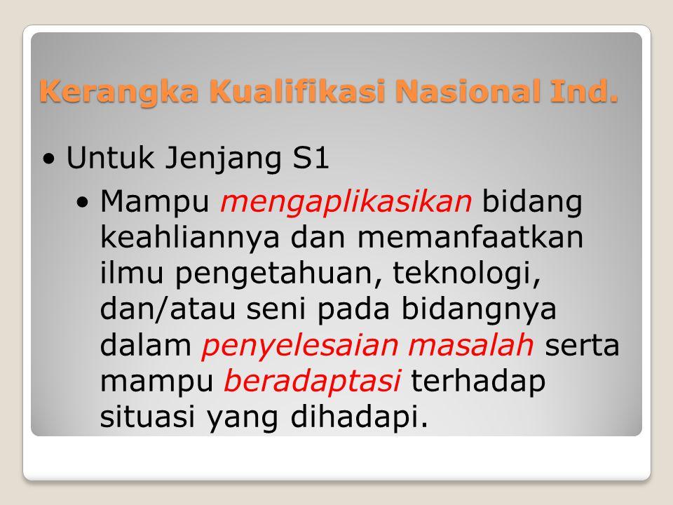 Kerangka Kualifikasi Nasional Ind. •Untuk Jenjang S1 •Mampu mengaplikasikan bidang keahliannya dan memanfaatkan ilmu pengetahuan, teknologi, dan/atau