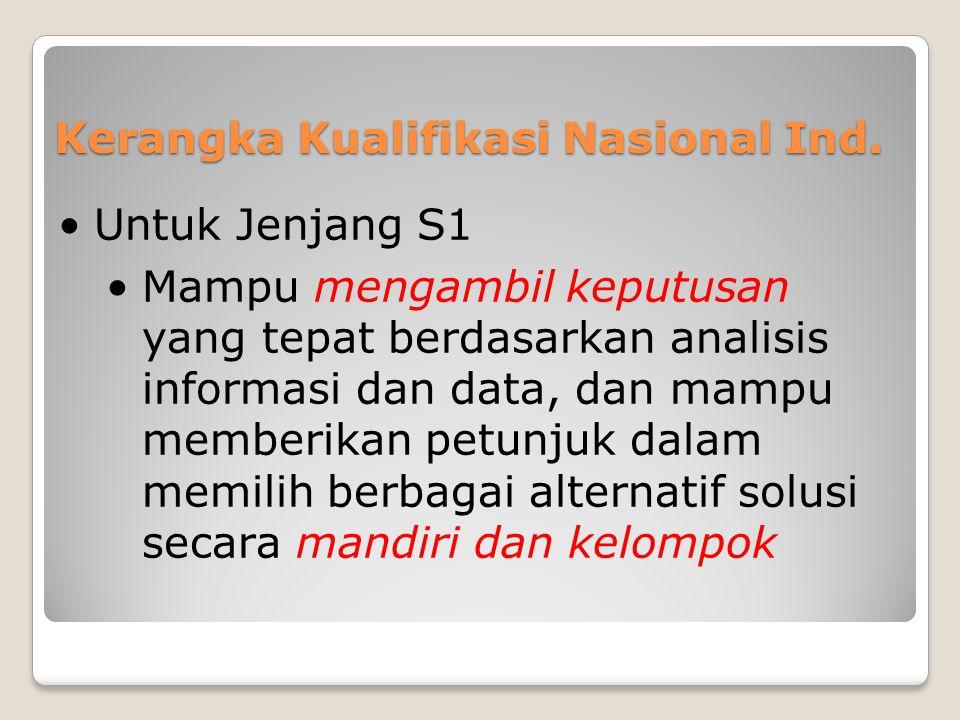 Kerangka Kualifikasi Nasional Ind. •Untuk Jenjang S1 •Mampu mengambil keputusan yang tepat berdasarkan analisis informasi dan data, dan mampu memberik