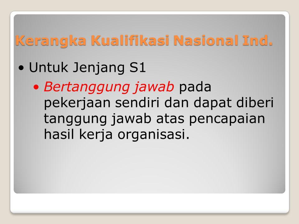 Kerangka Kualifikasi Nasional Ind. •Untuk Jenjang S1 •Bertanggung jawab pada pekerjaan sendiri dan dapat diberi tanggung jawab atas pencapaian hasil k