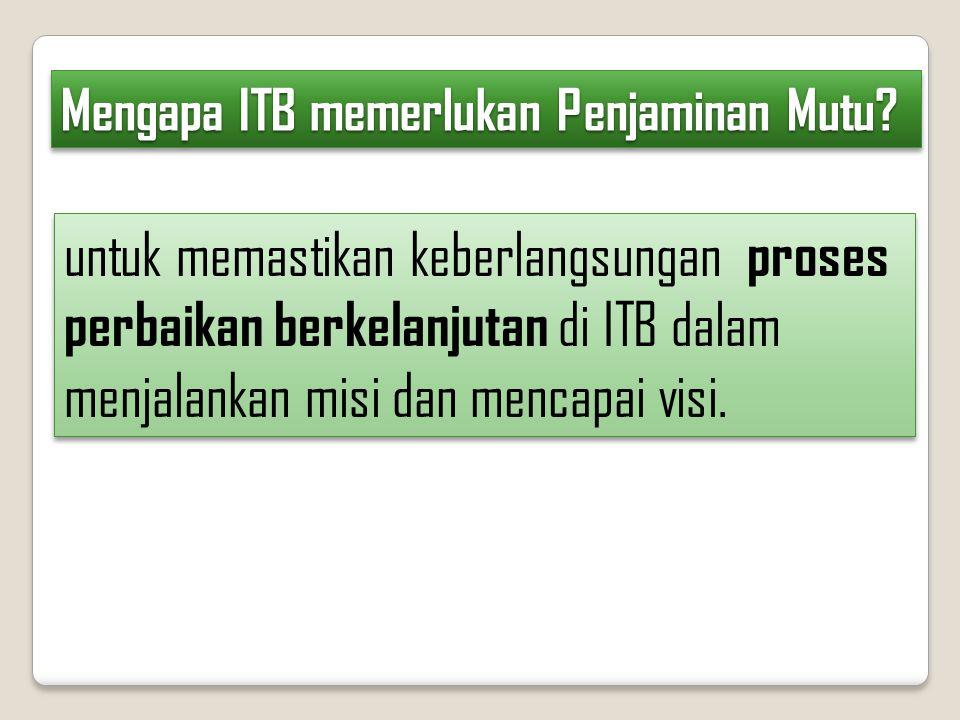 untuk memastikan keberlangsungan proses perbaikan berkelanjutan di ITB dalam menjalankan misi dan mencapai visi. Mengapa ITB memerlukan Penjaminan Mut