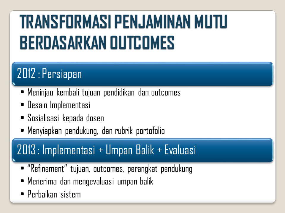 TRANSFORMASI PENJAMINAN MUTU BERDASARKAN OUTCOMES 2012 : Persiapan •Meninjau kembali tujuan pendidikan dan outcomes •Desain Implementasi •Sosialisasi kepada dosen •Menyiapkan pendukung, dan rubrik portofolio 2013 : Implementasi + Umpan Balik + Evaluasi • Refinement tujuan, outcomes, perangkat pendukung •Menerima dan mengevaluasi umpan balik •Perbaikan sistem