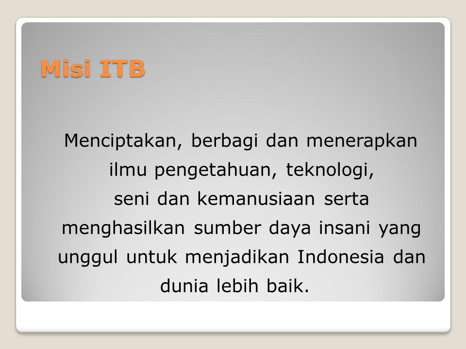 Misi ITB Menciptakan, berbagi dan menerapkan ilmu pengetahuan, teknologi, seni dan kemanusiaan serta menghasilkan sumber daya insani yang unggul untuk menjadikan Indonesia dan dunia lebih baik.