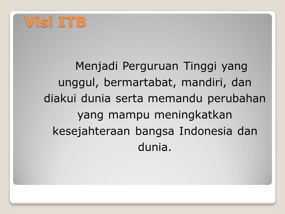 Visi ITB Menjadi Perguruan Tinggi yang unggul, bermartabat, mandiri, dan diakui dunia serta memandu perubahan yang mampu meningkatkan kesejahteraan bangsa Indonesia dan dunia.