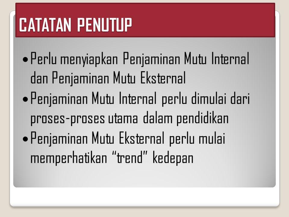  Perlu menyiapkan Penjaminan Mutu Internal dan Penjaminan Mutu Eksternal  Penjaminan Mutu Internal perlu dimulai dari proses-proses utama dalam pend