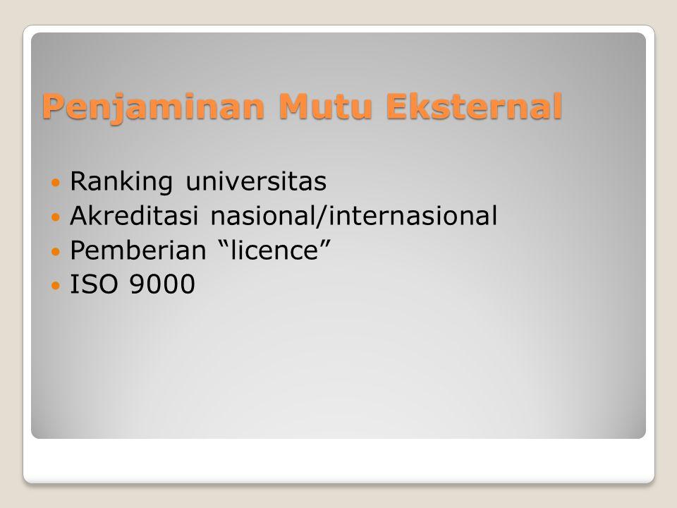 Penjaminan Mutu Eksternal  Ranking universitas  Akreditasi nasional/internasional  Pemberian licence  ISO 9000