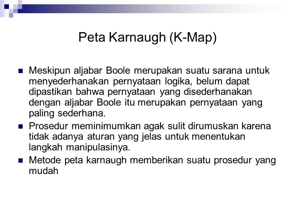Peta Karnaugh (K-Map)  Meskipun aljabar Boole merupakan suatu sarana untuk menyederhanakan pernyataan logika, belum dapat dipastikan bahwa pernyataan