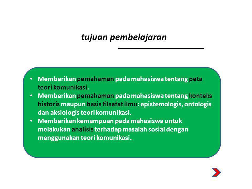 manfaat pembelajaran • Membentuk kompetensi keilmuan dasar di bidang llmu Komunikasi.