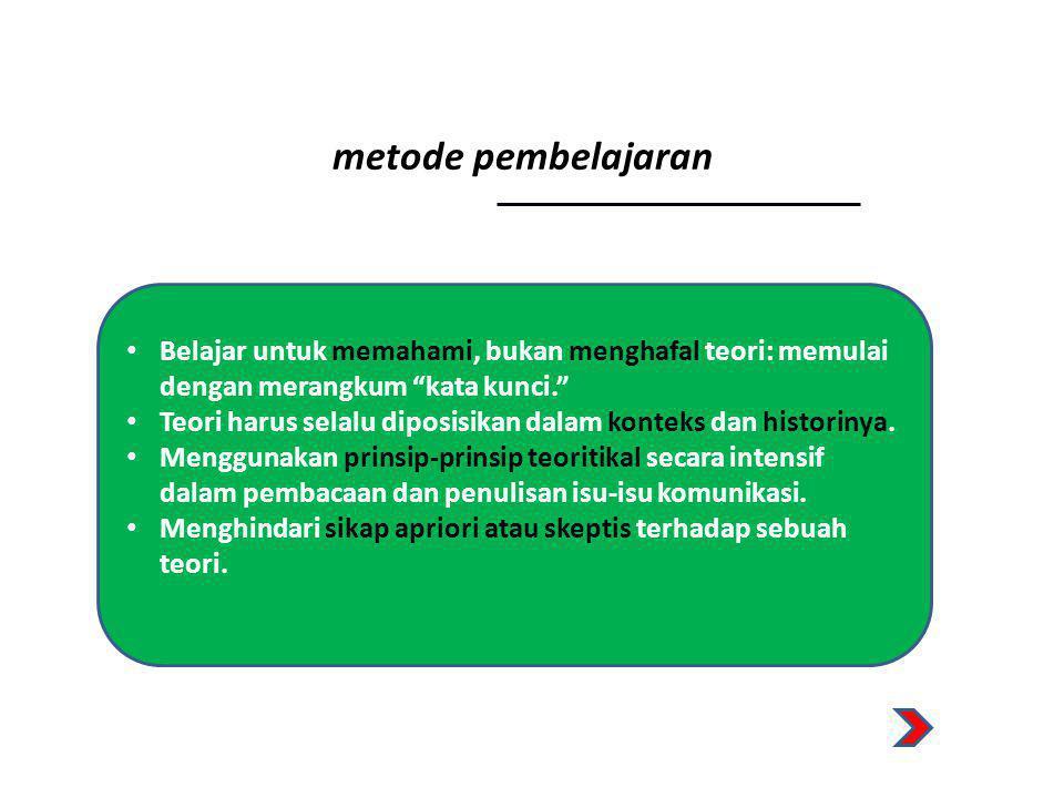 """metode pembelajaran • Belajar untuk memahami, bukan menghafal teori: memulai dengan merangkum """"kata kunci."""" • Teori harus selalu diposisikan dalam kon"""