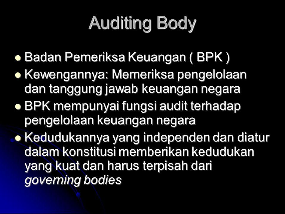 Auditing Body  Badan Pemeriksa Keuangan ( BPK )  Kewengannya: Memeriksa pengelolaan dan tanggung jawab keuangan negara  BPK mempunyai fungsi audit