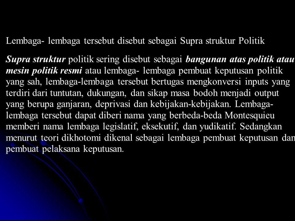 Lembaga- lembaga tersebut disebut sebagai Supra struktur Politik Supra struktur politik sering disebut sebagai bangunan atas politik atau mesin politi