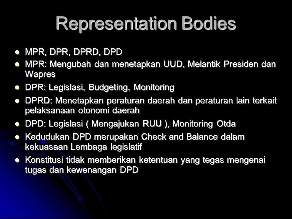 Representation Bodies  MPR, DPR, DPRD, DPD  MPR: Mengubah dan menetapkan UUD, Melantik Presiden dan Wapres  DPR: Legislasi, Budgeting, Monitoring 