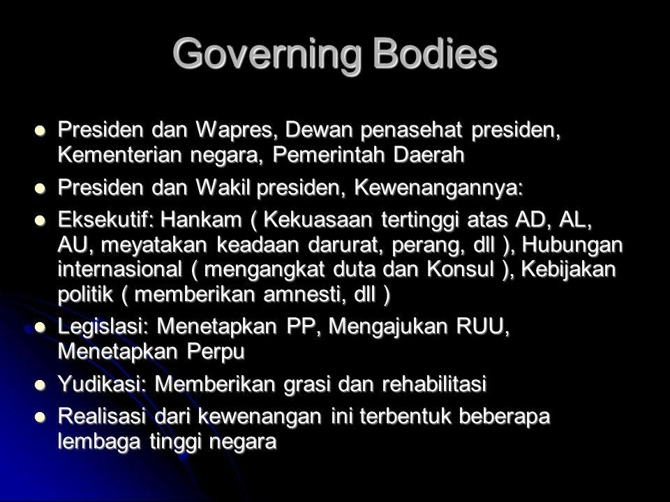 Governing Bodies  Presiden dan Wapres, Dewan penasehat presiden, Kementerian negara, Pemerintah Daerah  Presiden dan Wakil presiden, Kewenangannya: