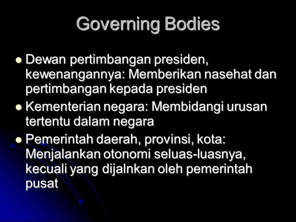 Governing Bodies  Dewan pertimbangan presiden, kewenangannya: Memberikan nasehat dan pertimbangan kepada presiden  Kementerian negara: Membidangi ur