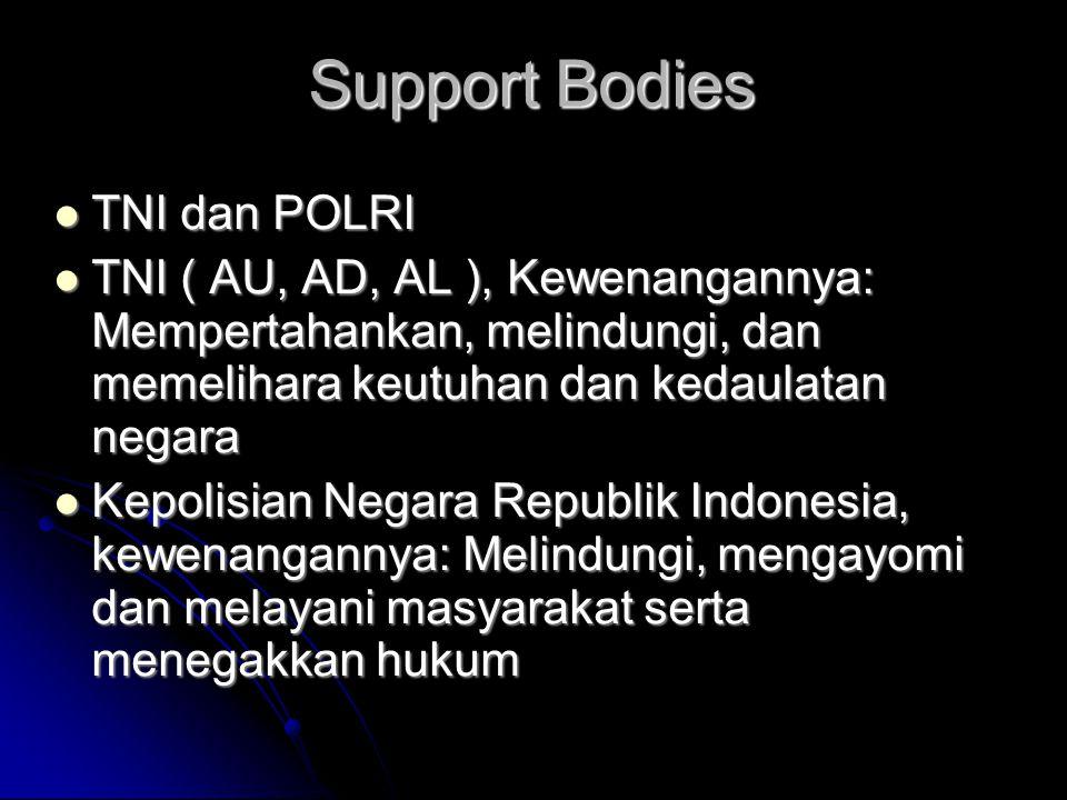 Support Bodies  TNI dan POLRI  TNI ( AU, AD, AL ), Kewenangannya: Mempertahankan, melindungi, dan memelihara keutuhan dan kedaulatan negara  Kepoli