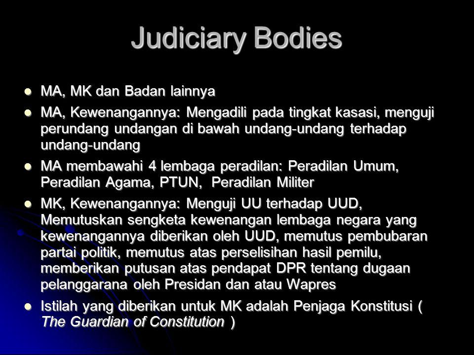 Judiciary Bodies  MA, MK dan Badan lainnya  MA, Kewenangannya: Mengadili pada tingkat kasasi, menguji perundang undangan di bawah undang-undang terh