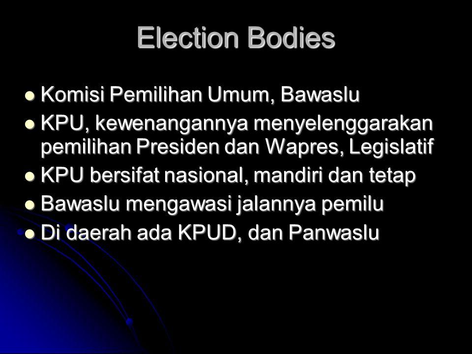 Election Bodies  Komisi Pemilihan Umum, Bawaslu  KPU, kewenangannya menyelenggarakan pemilihan Presiden dan Wapres, Legislatif  KPU bersifat nasion