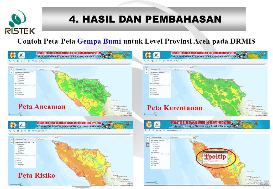 www.ristek.go.id 4. HASIL DAN PEMBAHASAN Contoh Peta-Peta Gempa Bumi untuk Level Provinsi Aceh pada DRMIS Peta Ancaman Peta Risiko Peta Kerentanan Too